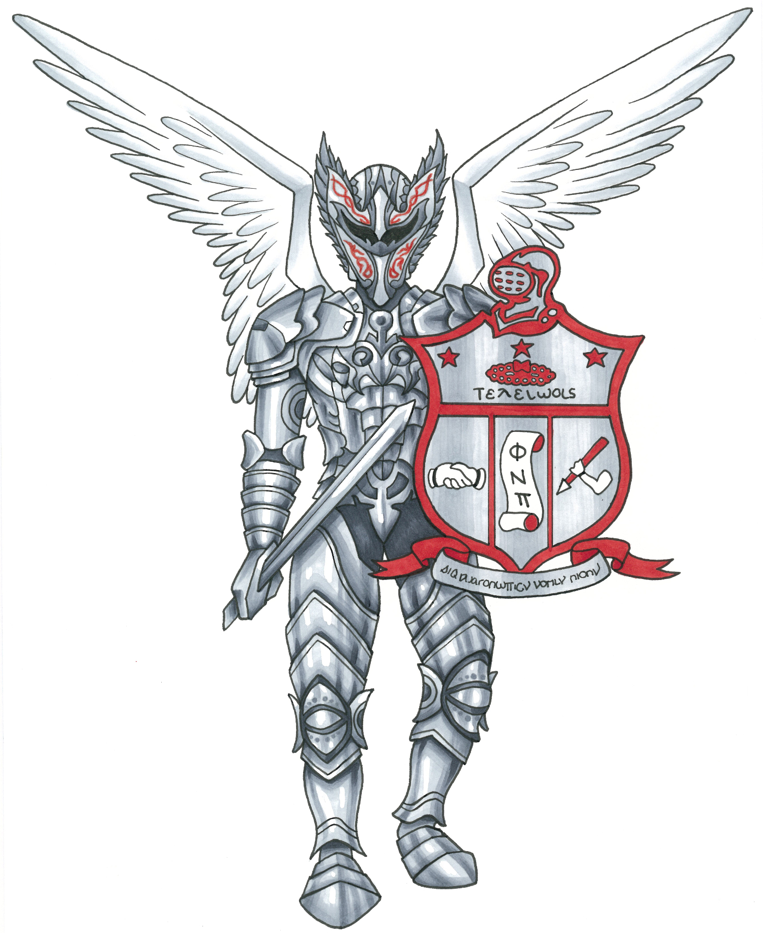 A silver knight with an elven knight helmer, knight armor, and wings.